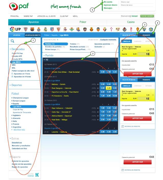 Casa de apuestas deportivas Paf - Sitio Web - Pantalla Principal