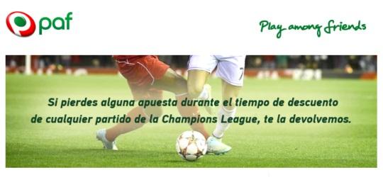 Promoción Paf Apuestas Deportivas de Fútbol en Champions League